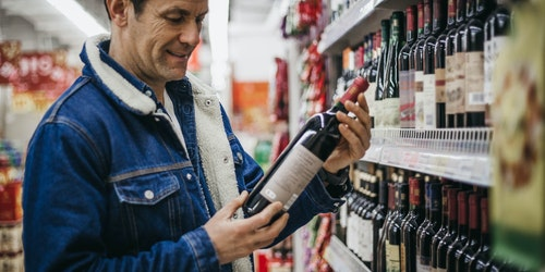 Buying wine in supermarket
