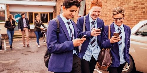 School Children On Phones
